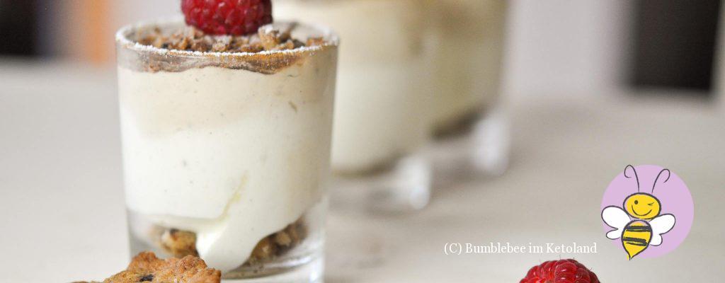 Mokka Vanille Crunch Creme Dessert im Glas
