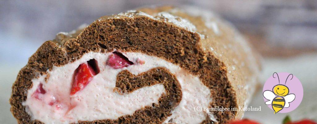 Ketogene Schoko-Erdbeer-Roulade