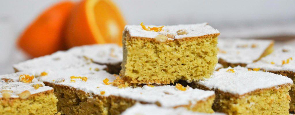 Orangen Olivenöl Kuchen mit Pinienkernen Keto Rezept Bumblebee